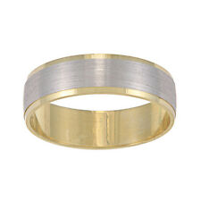 14k Two-tone Gold Men's 6-mm Satin Finish Easy Fit Wedding Band (6 mm)