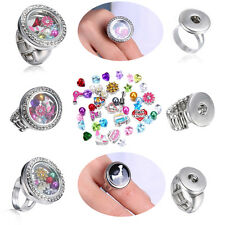 Chic Men Women Snap-It Punk Button Floating Charms Locket For Snap Ring Jewelry