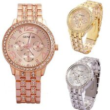 Ladies Mens Crystal Gold Silver Stainless Steel Analog Quartz Wrist Watch