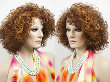 Shoulder Length Heat Friendly Soft Spring Curls Brunette Red Layered Wigs