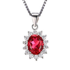Pigeon Blood Red Ruby Pendant Necklace Chain Solid 925 Sterling Silver Gemstone