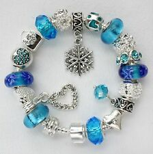 Charm bracelet with charms Frozen Aqua Blue snowflake heart Murano beads