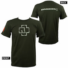 Authentic RAMMSTEIN Name And Classic Logo Army Green Slim Fit T-Shirt S-2XL NEW