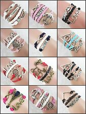Fashion Multilayer Hand-Woven Love Word Double Heart Infinity Charm Bracelets