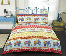Jaipur Elephant Design Duvet Cover Bedding Set in Blue or Red Single Double King