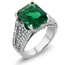 6.52 Ct Emerald Cut 12x10mm Green Simulated Emerald 925 Sterling Silver Ring