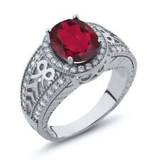 3.12 Ct Oval Ruby Red Mystic Quartz 14K White Gold Ring