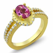 1.31 Ct Oval Pink Mystic Topaz 18K Yellow Gold Plated Silver Ring