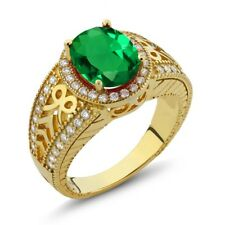 2.79 Ct Oval Green Simulated Emerald 925 Yellow Gold Plated Silver Ring