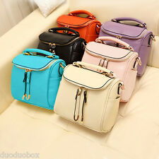Women Faux Leather Brief Shoulderbag Crossbody Bag Purse Handbag Tote 2 Zippers