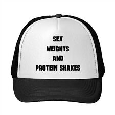 Sex Weights And Protein Shakes Sport Adjustable Trucker Hat Cap