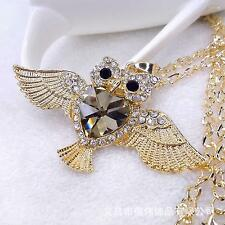 Women A--match Necklace Flying Owl Diamond Heart Crystal Pendant Sweater Chain