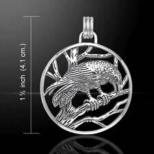 Mysterious Perching Raven Sterling Silver Pendant