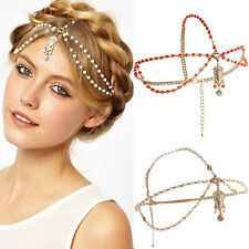Women Boho Pearl Gold Wedding Headdress Headband Head Band Crown Chain Headpiece