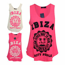 New Ladies Womens Sleeveless IBIZA PARTY PEOPLE Print Tank Vest Top Sizes SM ML