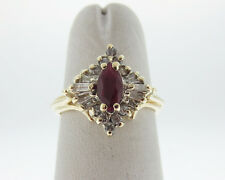 Natural Marquise Ruby Diamonds Solid 14k Yellow Gold Ring FREE Sizing