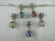 SILVER PLATED CAGED GLASS DANGLE CHARM FOR EUROPEAN STYLE CHARM BRACELETS