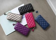 New LR13 Soft Genuine Lamb Skin Leather Quilted Zip Women Clutch Wallet Purse