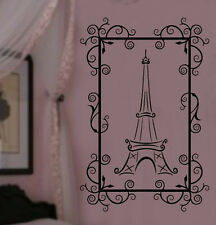 Fancy Framed Paris Eiffel Tower Theme Girls Room VInyl Wall Lettering Decal