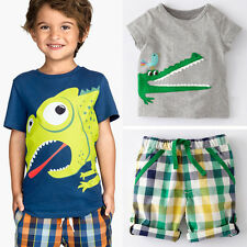 New in Fashion2 Pcs Toddler Kid Boy Girl Suit T-shirt + Lattice Pants Outfits