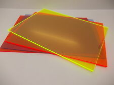3mm Flourescent Perspex Acrylic Sheet Plastic Panel Cut to Size A5 A4 A3