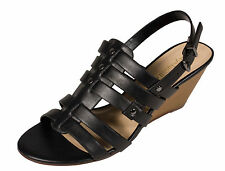 History! City Classified Women's Slingback Wedge Sandals Black Leatherette