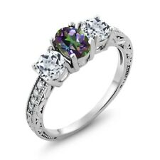 1.92 Ct Oval Green Mystic Topaz White Topaz 925 Sterling Silver Ring
