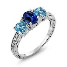 2.02 Ct Oval Blue Simulated Sapphire Swiss Blue Topaz 925 Sterling Silver Ring