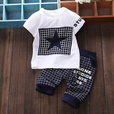 New Baby Boy Kid STAR Summer Shirt Sportswear T-shirt Top and Short Pants Outfit
