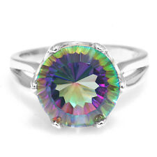 Round 6ct Genuine Fire Rainbow Topaz Ring 925 Sterling Silver Concave