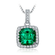 Square Nano Russian Emerald Pendant Necklace Chain Solid 925 Sterling Silver