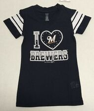 Milwaukee Brewers Baseball official MLB Youth Girls Sheer T-shirt New With Tags