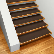 Set of 12 skid resistant carpet stair treads chocolate for What is the best carpet for stairs high traffic