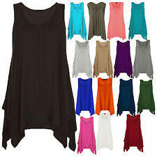 Women Ladies Asymmetric Gathered Hanky Hem Flared Jersey Long Tunic Vest Top