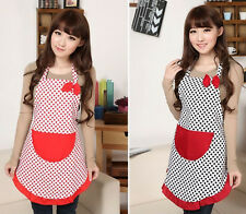 New Cute Women Kitchen Restaurant Bib Cooking Aprons With Pockets BowKnot Apron