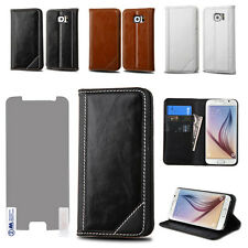 Genuine Leather Folio Flip Wallet Card Slots Stand Handcrafted Hard Case Cover
