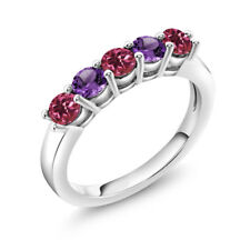 0.75 Ct Round Pink Tourmaline Purple Amethyst 925 Sterling Silver Ring