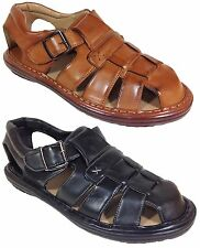 New Men Sandals Fisherman Velcro Buckle Comfort Causal Black Cognac Brasil