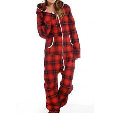 Womens Onesie Ladies Tartan print All in One Hooded Zip Jumpsuit UK 8-14