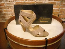 B Makowsky Taupe Syanna Ruched Leather Cross Strap High Heel Sandals NEW