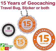15 Years of Geocaching Travel Tag (Travel Bug) or Sticker - Buy both for a deal