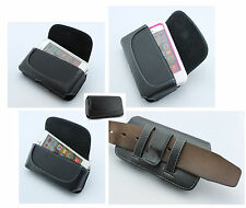 "Premium Cell Phone Leather Case Cover Sideways Holster Clip with 2"" Belt Loops"
