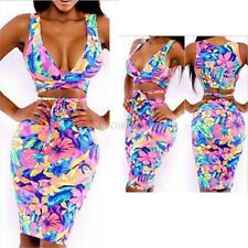 Women Flower Two Piece Bralet Bustier Top and Bodycon Skirt Ladies Dress Set HOT