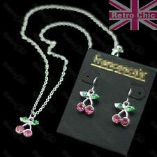 KITSCH CHERRIES pendant CHERRY NECKLACE / EARRINGS / SET silver plated CUTE pink