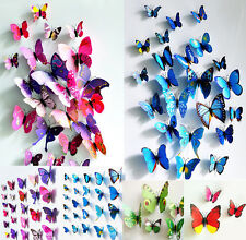 12pcs 3D PVC Butterflies DIY Butterfly Art Decal Home Decor Wall Mural Stickers