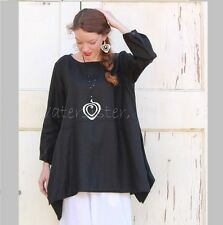 YEA Light Linen BRIA TUNIC Flared Apron Smock Adjustable Sleeve Top 2X 3X BLACK