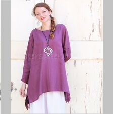 YEA Light Linen BRIA TUNIC Flared Apron Smock Adjustable Sleeve Top 2X 3X PURPLE
