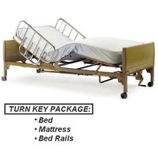 Invacare Full Electric Home Care Bed PACKAGE w/ Innerspring Mattress + Rails