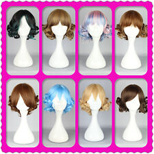 30cm Long Cosplay Lolita short blue/green/purple/brown Mixed Gradient Curly Wig