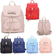 Ladies Lock Charm Flap Over Faux Leather Drawstring School Bag Rucksack Backpack